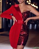 One Shoulder Long Sleeve Party Blazer Dress