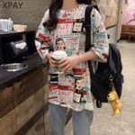 Printed O-Neck Loose  Chic Female T-Shirts