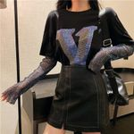 New fashion Colorful Rhinestones Letter T Shirts