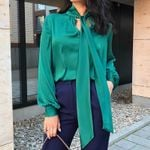 New Long Sleeve Green Blouse Fashion