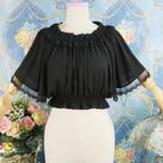 Black Lace Ruffle Shirts Batwing Sleeve Lolita Vintage