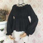 Black White Retro Vintage Victorian Gothic Lolita Blouse