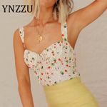 Sexy Female Crop Tops Floral Print Sleeveless