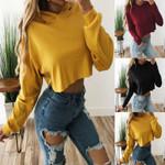 Long Sleeve Loose Hoodie Jumper Pullover Solid Tops Sweatshirt