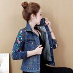 Short jeans coats Print Embroidery Demin Jacket