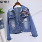 Short Demin Coat Flowers Embroidery Cowboy