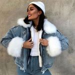 Demin Jacket Faux Fur Collar Coat Top