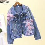Jeans Jacket Embroideried Flowers Hole Demin Coat
