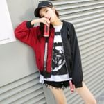 Patchwork Casual Bomber Jacket Two Tone