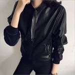 PU Leather Jacket Long Sleeve Zipper Turn-down