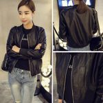 Zipper Round Collar O Neck PU Leather Baseball Style Jacket