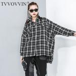 new large size black whtie Lattice Irregular coat