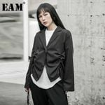 Loose Fit Black Asymmetrical Pleated Split Joint Short Jacket
