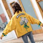 Denim Jacket Embroidered Flower Sweet Coat