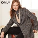 Loose Fit Sheep Check Wool Coat