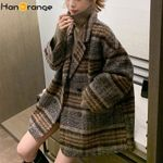 Cotton Tweed Plaid Woolen Loose coat Blazer
