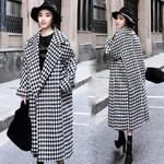 Long Plaid Woolen Coat Female