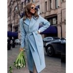 Long Lapel Pockets Belted Jackets Solid Color Coats