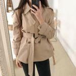 Short Turn-down Belt Coat Solid Jacket