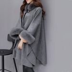 New Vintage Woolen Coat Loose Imitation Fox Fur