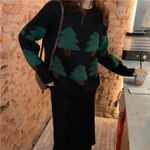 Casual Leisure Patchwork Pine Loose Sweaters