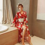 Kimono Traditional Red Floral Print Full Sleeve