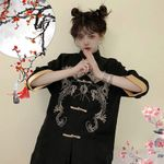 Dragon Embroidery Coat Girl News Big Sleeve Kimono