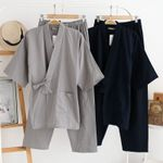 Traditional Pajamas Cotton Solid Color Robe Pants Kimono