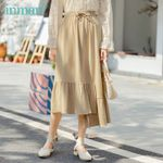 Pure Cotton Elastic Waist Irregular Hem Fashion Skirt