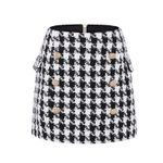 Designer Metal Lion Buttons Embellished Mini Skirt