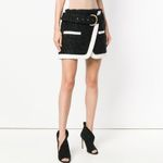 Designer Color Block Lacing Belt Tweed Mini Skirt