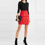 Runway Designer Lion Buttons Tassel Wool Tweed Mini Skirt