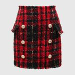 Lion Buttons Colors Plaid Tweed Wool Mini Skirt