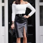 Wild Leather High Waist Split Midi Skirts