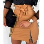 Leather High Waist Short Skirts A-line