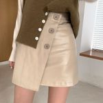 Leather Mini High Waist A Line Button Short Skirt