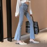 Hole Denim Flare Pants Split High Waist Jean