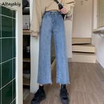 Jeans Denim Ankle-Length Loose Straight High Waist