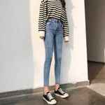High Waist Casual Denim Pencil Pants Spliced Gray Jeans