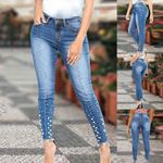 New Blue Pencil Pants Mid Waist Slim Denim Jeans