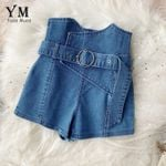Fashion High Waist Sashes Denim Shorts