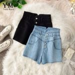 Black High Waist Jeans Buttons Denim Shorts