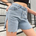 Split Side Blue Denim Casual Fashion Jeans Short