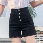 Tassel Denim Shorts Black elastic High Waist