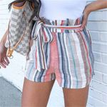 Fashion Striped Print Drawstring Pockets Short