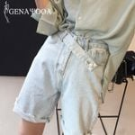 Denim High Waist Streetwear Casual Biker Shorts
