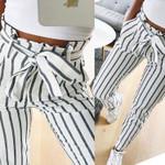 Fashion Stripe High Waist Casual Pants