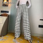 Casual Plaid Trousers High Waist Pocket Wide Leg Pants