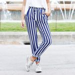 Stripe Pants High Waist Ladies Casual Slim Long Trousers