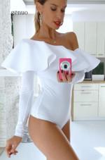 Long Sleeve Body Female White Off Shoulder Bodysuit
